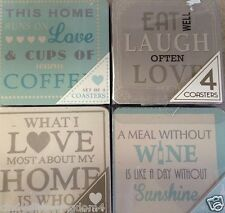 New set of 4 drinks coasters wine love home coffee laugh modern slogan quote