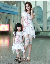 New Summer CAT Family Sets clothes Daughter Mummy Girls T Shirts+Pants set 1sets