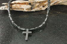 Double Strength Magnetic Hematite Holy Cross Pendant Men's Circulation Necklace