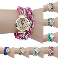 Chic Lady Crystal Knitted Wristband Bracelet Dial Quartz Analog Cute Wrist Watch
