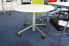 SECOND:WHITE AND SILVER CIRCULAR GAS-ASSISTED MEETING/BAR/DINING TABLE ON CASTOR