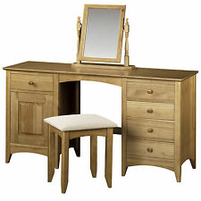Solid Pine Finish 5 Drawer 1 Door Dressing Table Desk & Stool with Mirror