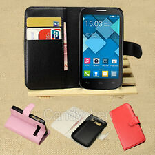 PU Leather Stand Flip Case Cover + LCD Film For Alcatel One Touch POP C3 C5 C7