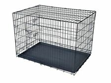 FOLDABLE METAL WIRE DOG CAGE DOG CRATE KENNEL SUITCASE ABS TRAY