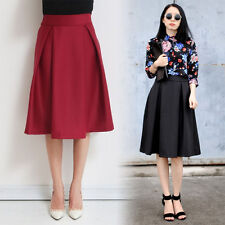 Vintage Retro Womens High Waist Elastic Mid Dress Flared Skater Pleated Skirt
