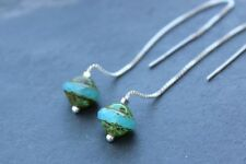 Aqua saucers threader earrings - sterling silver, picasso Czech glass beads