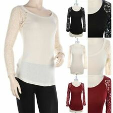 Floral Lace Long Sleeve Solid Scoop Neck Top Casual Easy Wear Poly Rayon  S M L