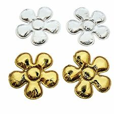 "*U PICK* 100 Gold/Silver Flower 7/8"" applique padded fabric hair card craft cute"