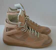 MAISON MARTIN MARGIELA Beige Suede and Glazed leather High top Sneakers