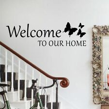 Welcome To Our Home Butterflies Wall Art Sticker Vinyl Decal Entrance Hall Decor