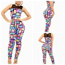 Sexy Womens Zipper Sleeveless Colorful Kiss Lip Print Bodycon Rompers Jumpsuits