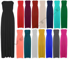 NEW WOMENS LADIES SHEERING BOOB TUBE BOHO BANDEAU MAXI PARTY DRESS SIZE 8-14