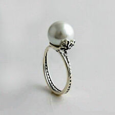 Genuine s925 Solid Sterling Silver Grand Pearl & Black CZ Ring