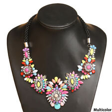 Luxury Chunky Bubble Crystal Bib Statement Flower Exaggerated Collar Necklace