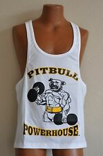 Pitbull Powerhouse Workout Gym Muscle Stringer Tank Top White / Black / Gold