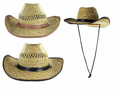 New Straw Stetson Cowboy Large Brim Beach Sun Holiday Mens Shapeable Hat
