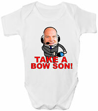 New Wave Designs White Baby Grow (TAKE A BOW SON) Soccer AM Football Andy Gray