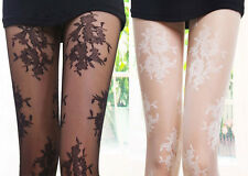 Women's Sexy Vintage Floral Lace Pattern Pantyhose Tights Stockings Leggings