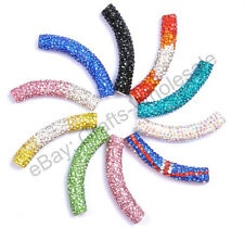 Curved Czech Crystal Rhinestones Pave Tube Bracelets Connector Charms Beads