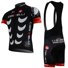 BNWT NEW Castelli Tech Labs Cycling Jersey and Bib Shorts Black Cycle Team Pro