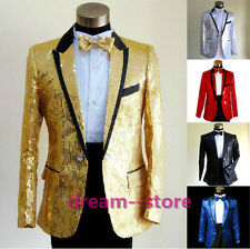 Original Mens Bling Sequins Tuxedo SUIT and TIE Gangnam Style Jacket Coat Cloth