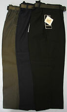 Boys School Uniform Gaberdine Trousers Bottoms Teflon Grey Black Navy Belt Zip