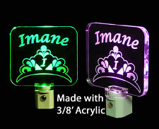 Girls Personalized Princess Crown LED Night Light, Handmad, Nursery Lamp-Gift