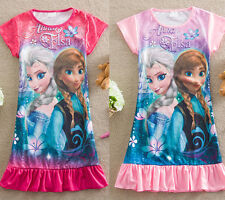 Princess Frozen Elsa Anna Baby Girls Kids Pyjama Nightie Gown One-pieces Dresses