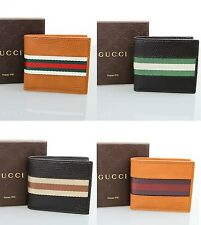 New Authentic GUCCI Mens Leather Bifold Wallet w/Web Detail, 231845