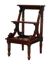 ANTIQUE REPRODUCTION MAHOGANY LIBRARY STEPS-SOLID WOOD