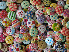 25, 50, 100 ASSORTED 15mm WOODEN BUTTONS CRAFT, SEWING, SCRAPBOOKING CARD MAKING