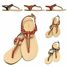 New Women Gladiator Flat Sandal T-strap Thong Flip Flops Style Shoes Size 5-10