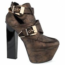 Monte17a Bronze Pu Women Chunky High Heel Buckle Cut Out Platform Ankle Bootie