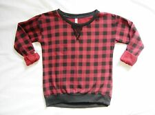 11J9 Xhilaration Lumberjack Black Red Plaid Long Sleeve Thin Sweatshirt Top NWOT