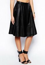 Women Chic PU leather Side Pockets A-line Pleated over-knee Length Skirt