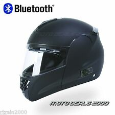 BLACK FULL FACE MODULAR MOTORCYCLE HELMET with 2 SPEAKER BLUETOOTH / DOT RATED