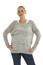 LADIES NEW Ex RIVER ISLAND KNITTED SILVER GREY TOP (w/ LOREX) SIZE ML & XL