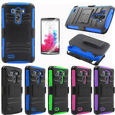 Shockproof Heavy Duty Armor Stand Hard Case Cover For New LG G3 w/ Film &Holster