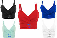 New Women's Ladies Cropped Wrap Over Fitted Plain Strap Sexy Bra Vest Bralet Top