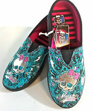 Monster High Youth TEAL AND BLACK Canvas Glitter Slip-on SIZES 13,1 OR 2