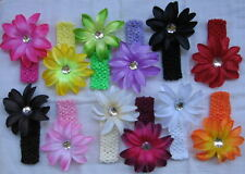 2pc.Large Lily Flower  hair Clip bow on Crochet Headband lot gift Set Baby Girl
