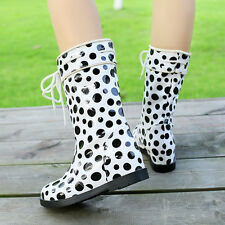 Womens Ladies Strappy Flats Waterproof Snow Rain Mid Calf Boots Shoes UK 2-9 NEW