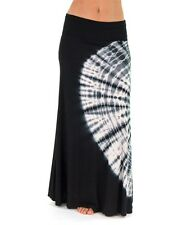 POPULAR BLACK WHITE CIRCULAR TIE DYE LONG FLOWY SILKY FOLD OVER MAXI SKIRT S M L