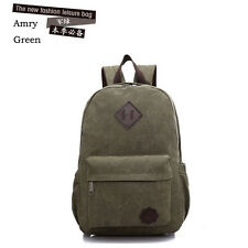 Unisex Vintage Canvas Backpack Rucksack School Satchel Hiking Bag Bookbag