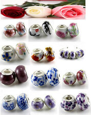 5pcs Flower Murano Lampwork Ceramics Beads fit For Charm Bracelet dj1613