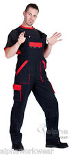 Work Bib and Brace Overalls Dungarees Mens Mechanics Pants MAX in Black/Red.