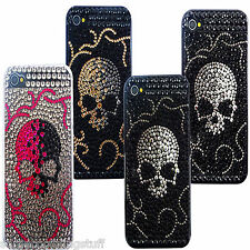 NEW BLING BLACK SKULL GOTH DIAMANTE PROTECTIVE CASE COVER iPhone 5 5S 5C 4 4S 3g