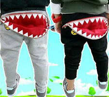 BOYS GREY/BLACK JOGGING PANTS ZIP OPEN SHARK MOUTH! 2-3,3-4,4-5,5-6,6-7 YEARS