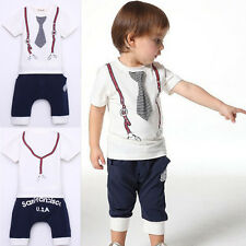 New Cute Kids Baby Boy Cotton Tie Belt Print Top T Shirt+Short Pants 1-5Y White