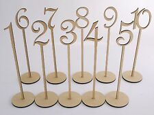 MDF Wooden Shape Table Numbers Stick Set with Base French Font Wedding Birthday